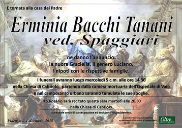 Necrologio di Erminia Bacchi Tanani