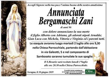 Necrologio di Annunciata Bergamaschi Zani