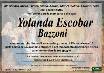 Necrologio di Yolanda Escobar Bazzoni
