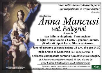 Necrologio di Anna Mancusi ved. Pellegrini