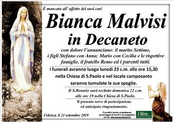Necrologio di Bianca Malvisi in Decaneto