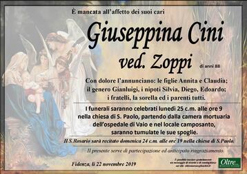 Necrologio di Giuseppina Cini ved.Zoppi