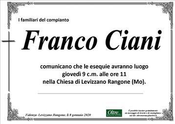 Necrologio di Franco Ciani