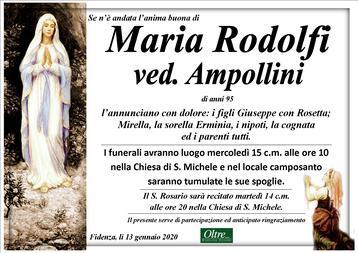 Necrologio di Maria Rodolfi ved. Ampollini