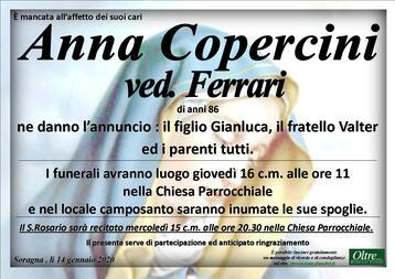 Necrologio di Anna Copercini ved. Ferrari