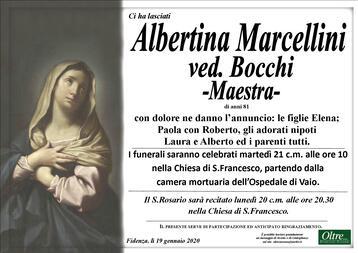 Necrologio di Albertina Marcellini ved. Bocchi