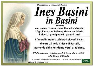Necrologio di Ines Basini in Basini