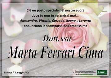Necrologio di Dott.ssa Marta Ferrari Cima