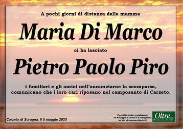 Necrologio di Pietro Paolo Piro