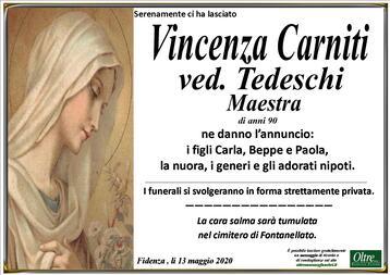 Necrologio di Vincenza Carniti ved. Tedeschi