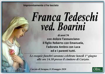 Necrologio di Franca Tedeschi ved. Boarini