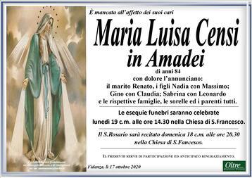 Necrologio di Maria Luisa Censi in Amadei
