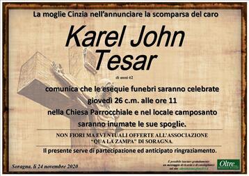 Necrologio di Karel  John Tesar