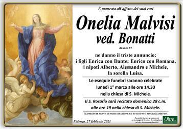 Necrologio di Onelia Malvisi