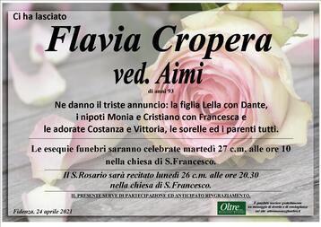 Necrologio di Flavia Cropera ved. Aimi