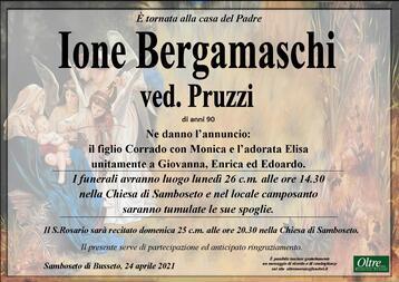 Necrologio di Ione Bergamaschi ved.Pruzzi