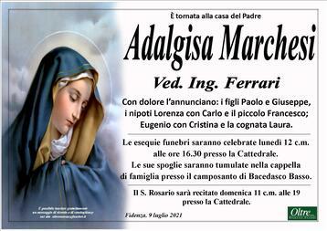 Necrologio di Adalgisa Marchesi Ved. Ing. Ferrari
