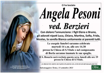 Necrologio di Angela Pesoni Ved. Berzieri