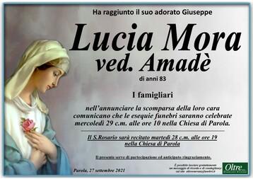 Necrologio di Lucia Mora ved. Amadè