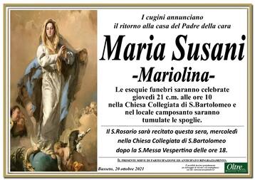 Necrologio di Maria Susani -Mariolina-