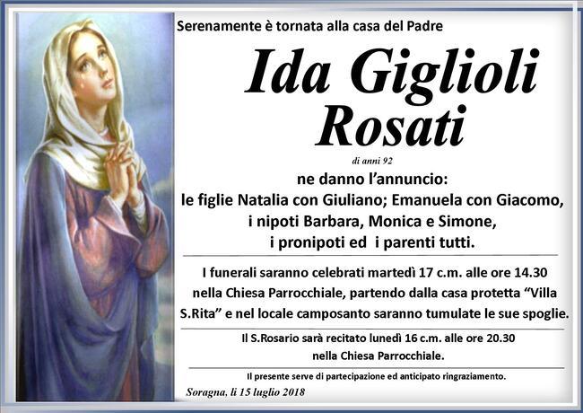Necrologio di Ida Giglioli Rosati