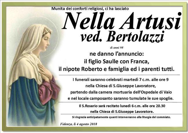 Necrologio di Nella Artusi ved. Bertolazzi