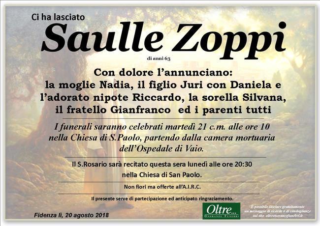 Necrologio di Saulle Zoppi