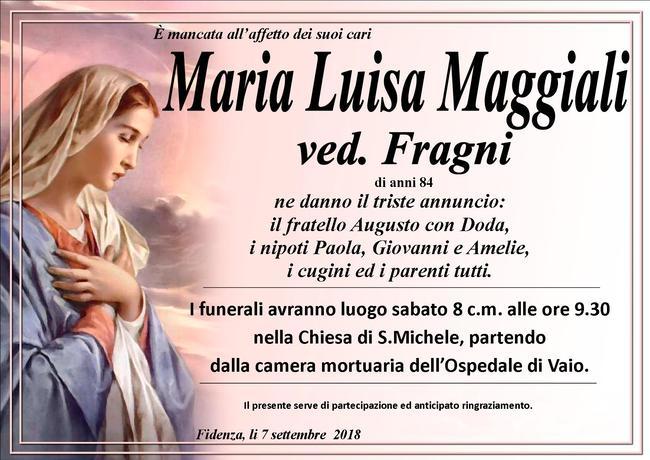 Necrologio di Maria Luisa Maggiali ved. Fragni