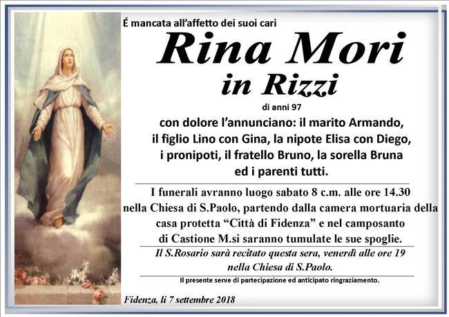 Necrologio di Rina Mori in Rizzi