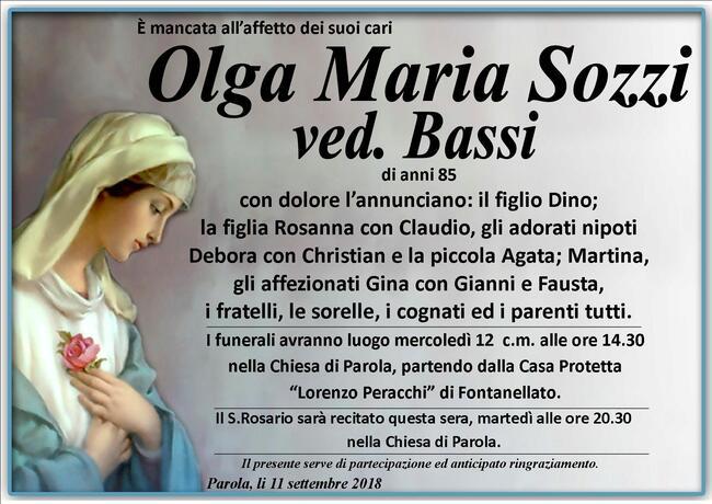 Necrologio di Olga Maria Sozzi ved. Bassi