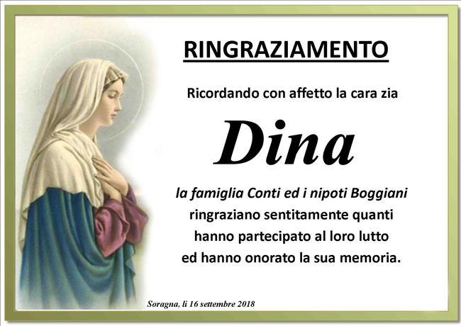 Ringraziamenti per Dina Conti Boggiani