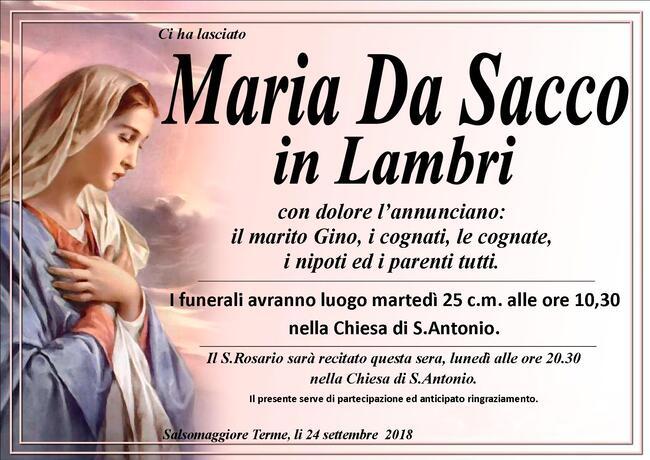 Necrologio di Maria Da Sacco in Lambri