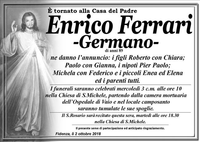 Necrologio di Enrico Ferrari -Germano-