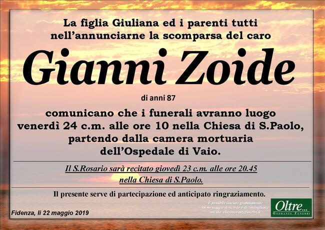 Necrologio di Gianni Zoide