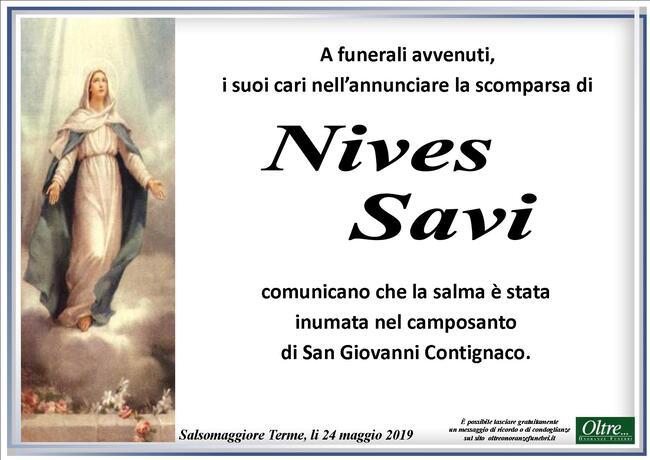 Necrologio di Nives Savi