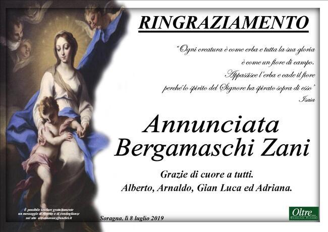 Ringraziamenti per Annunciata Bergamaschi Zani