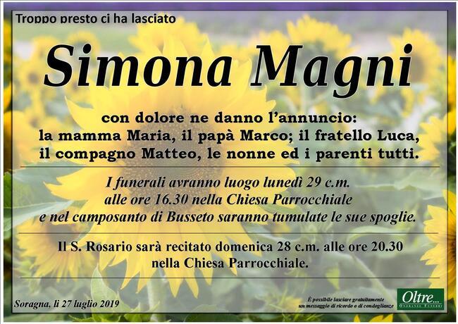 Necrologio di Simona Magni