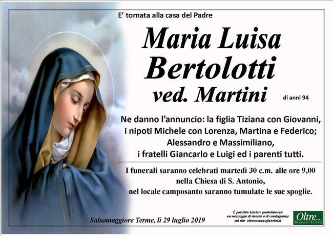 Necrologio di Maria Luisa Bertolotti