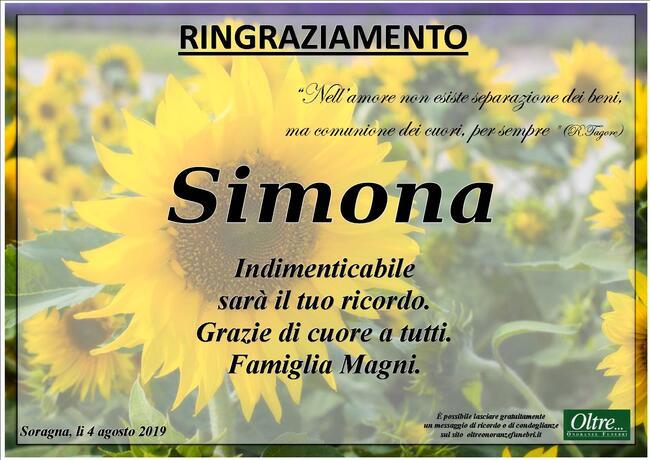 Ringraziamenti per Simona Magni