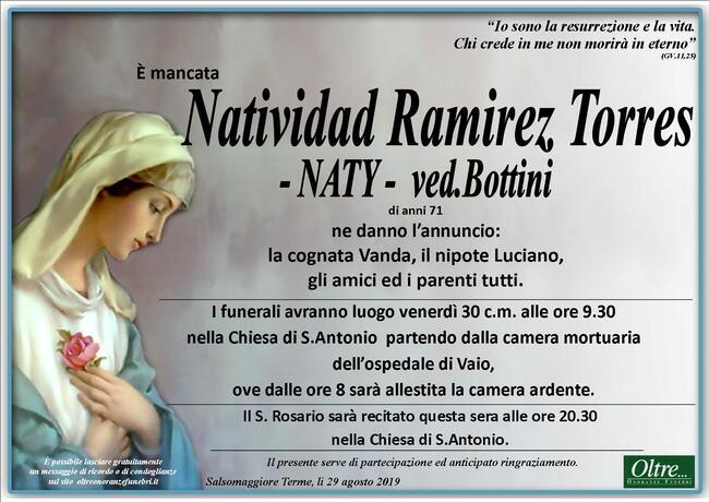 Necrologio di Natividad Ramirez Torres ved. Bottini
