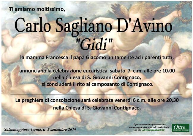 Necrologio di Carlo Sagliano D'Avino