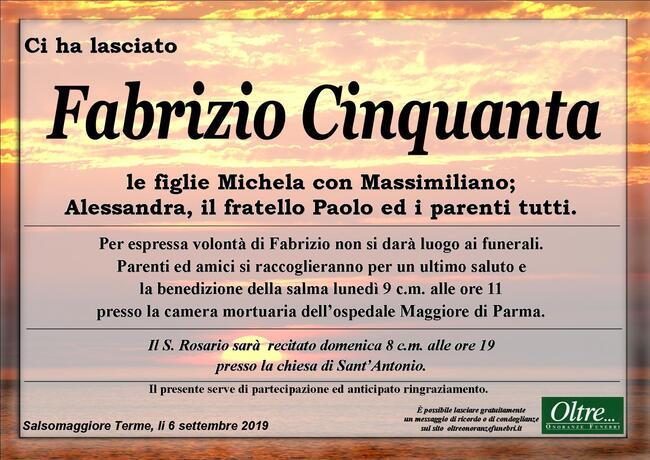 Necrologio di Fabrizio Cinquanta
