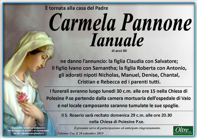 Necrologio di Carmela Pannone Ianuale