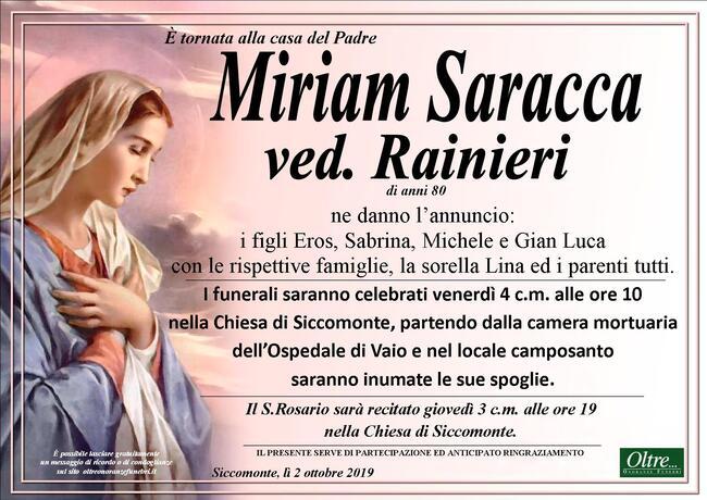 Necrologio di Miriam Saracca ved. Rainieri