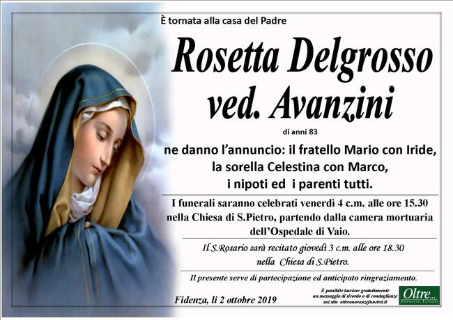 Necrologio di Rosetta Delgrosso ved. Avanzini