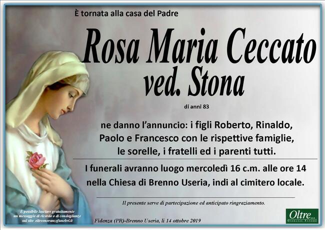 Necrologio di Rosa Maria Ceccato ved. Stona