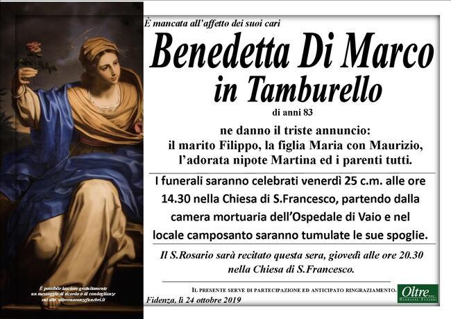 Necrologio di Benedetta Di Marco in Tamburello