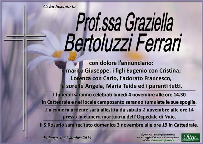 Necrologio di Prof.ssa Graziella Bertoluzzi Ferrari