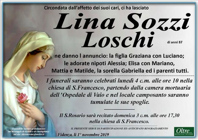 Necrologio di Lina Sozzi Loschi