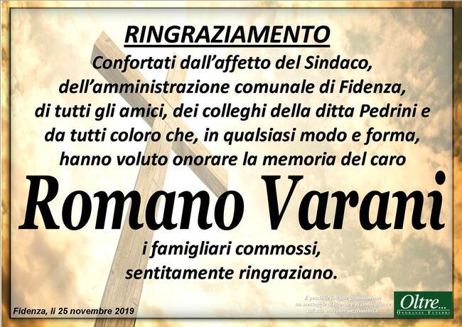 Ringraziamenti per Romano Varani